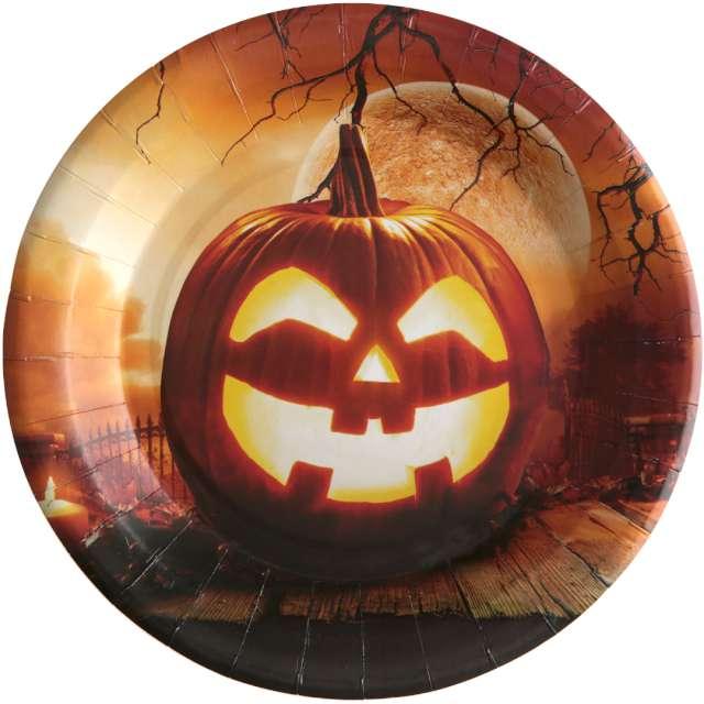 """Talerzyki papierowe """"Dynia Halloween"""", Santex, 23 cm, 10 szt"""