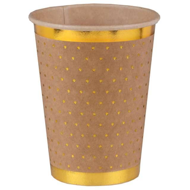 """Kubeczki papierowe """"Złote kropeczki i paski"""", brązowe, SANTEX, 270 ml, 10 szt"""