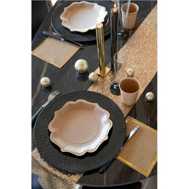 Kubeczki papierowe Złote kropeczki i paski brązowe SANTEX 270 ml 10 szt