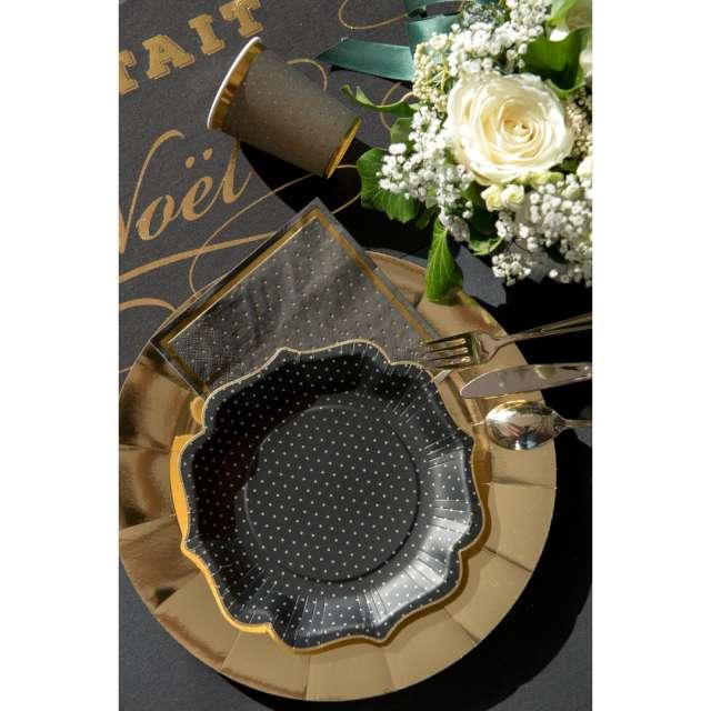 Kubeczki papierowe Złote kropeczki i paski czarne SANTEX 270 ml 10 szt