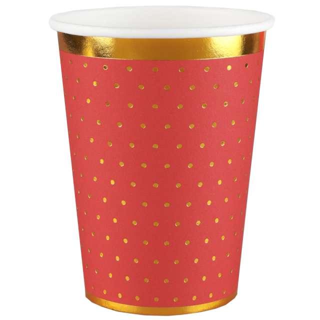 Kubeczki papierowe Złote kropeczki i paski czerwone SANTEX 270 ml 10 szt