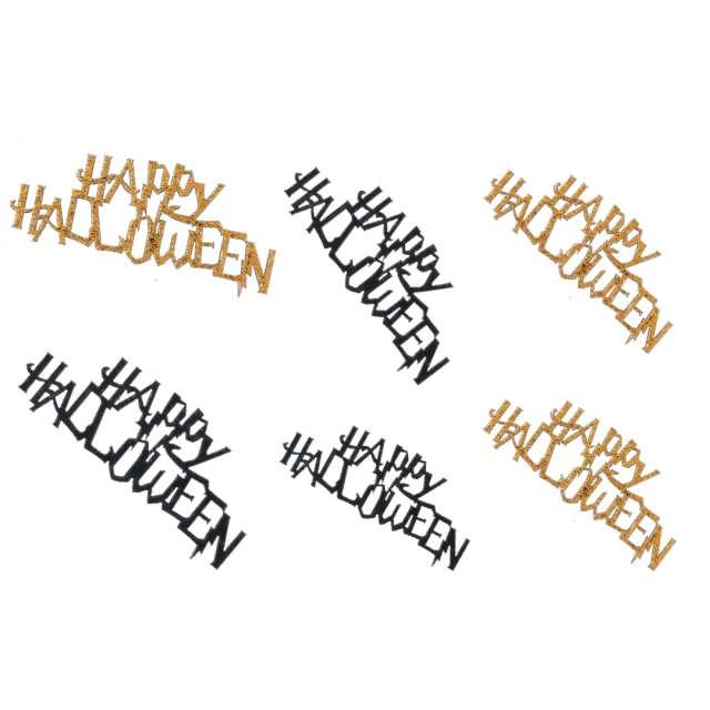 Konfetti Happy Halloween złoto-czarne Santex 10 szt
