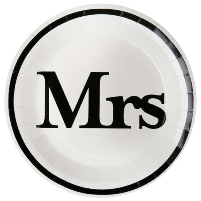 Talerzyki papierowe Wesele - Mrs białe SANTEX 23 cm 10 szt