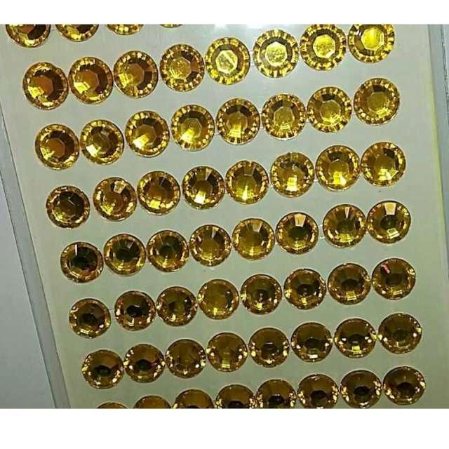 Dżety samoprzylepne Kryształki 3D 8mm złote Brewis