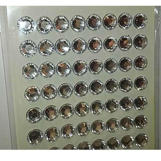 Dżety samoprzylepne Kryształki 3D 8mm srebrne Brewis