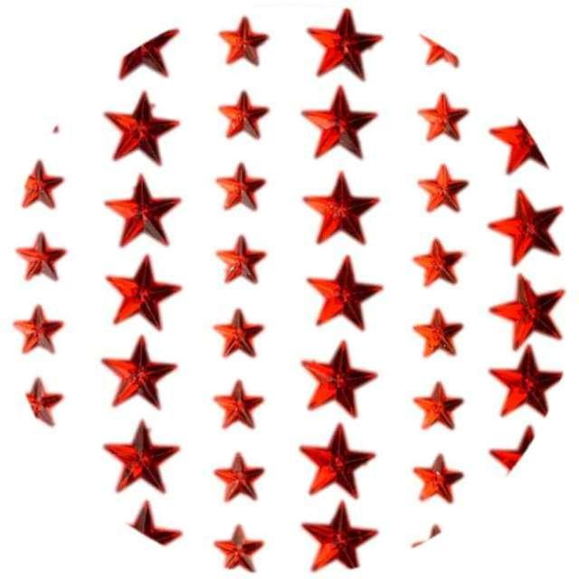 """Dżety samoprzylepne """"Kryształki 3D gwiazdki"""", czerwone, Brewis"""