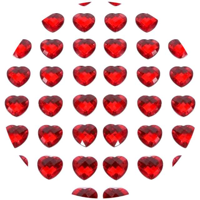 """Dżety samoprzylepne """"Kryształki 3D serduszka"""", czerwone, Brewis"""