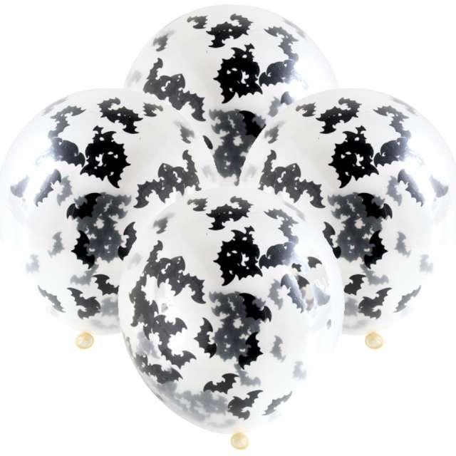 Balony Konfetti Halloween - Nietoperze  transparentny Folat 12 4 szt