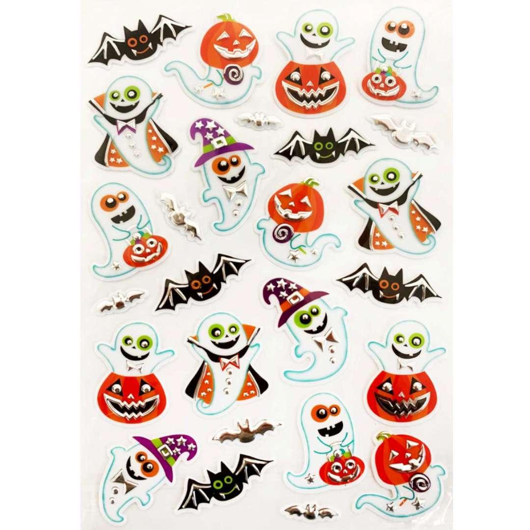 Naklejki Halloween - duchy i dynie metalizowane Arpex