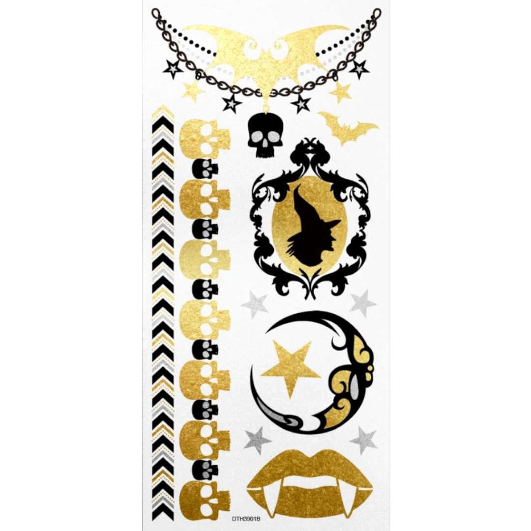 Tatuaż wodny Halloween - wiedźmy i czaszki  metalizowany Arpex