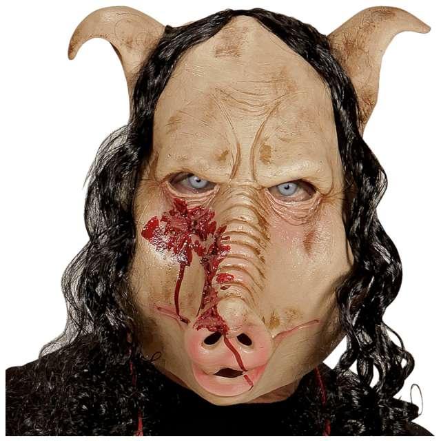 Maska Świnia i długie włosy lateksowa Widmann