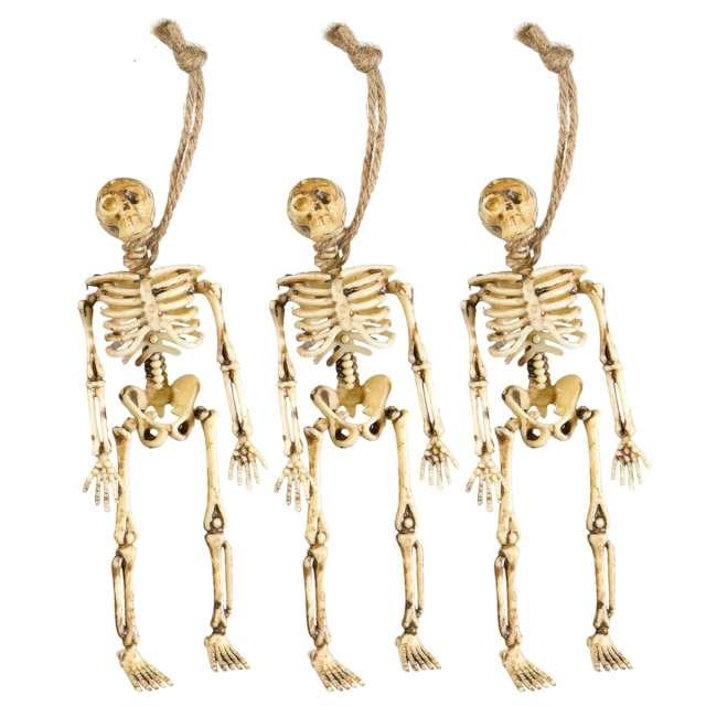 """Dekoracja wisząca """"Trzy szkielety"""", beżowa, Widmann, 15 cm, 3 szt"""