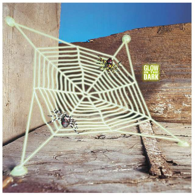 _xx_Pk 12 GLOW IN THE DARK SPIDERWEB WITH SUCTION CAPS AND 2 SPIDERS 27x27 cm