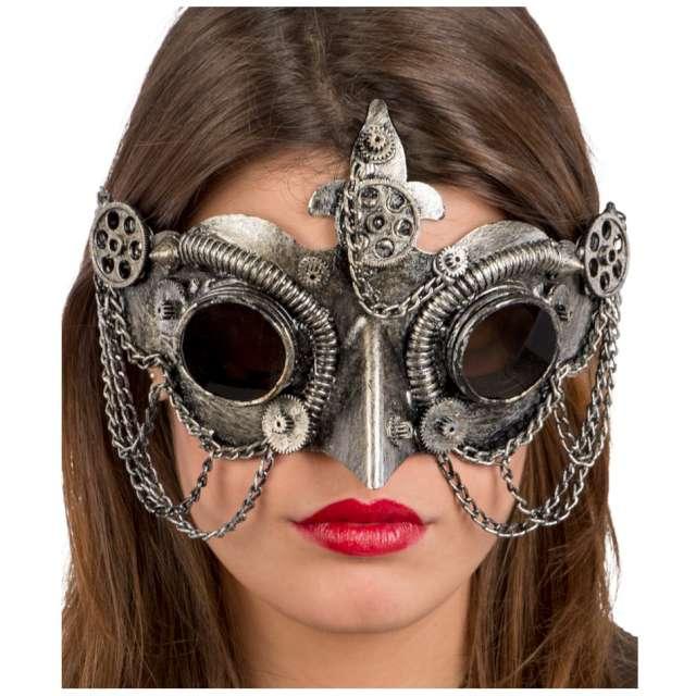 Maska Sowa - Steampunk srebrna Carnival Toys