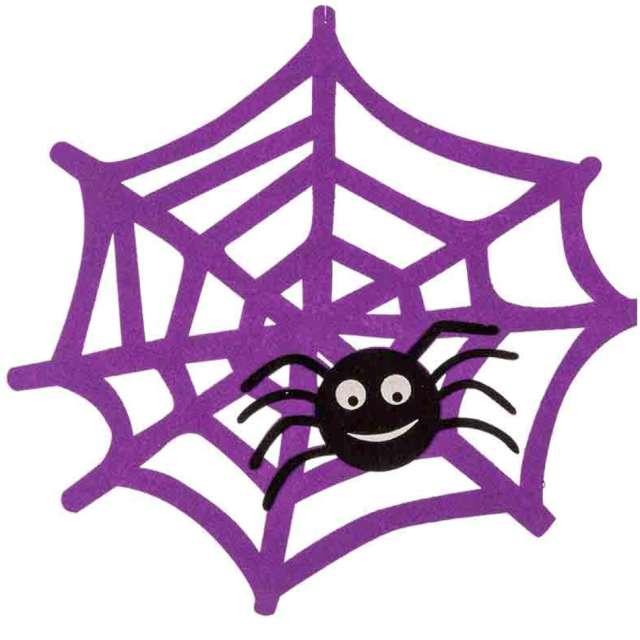 """Dekoracja """"Pajęczyna z pająkiem"""", fioletowa, Carnival Toys, 42 cm"""