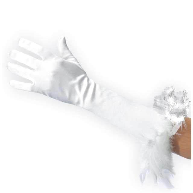 Rękawiczki Larson z piórami białe Carnoval Toys 40 cm