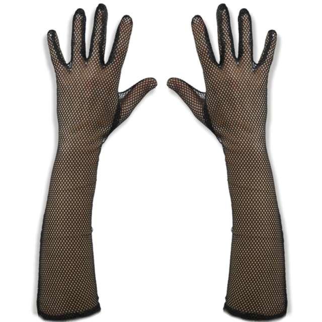 """Rękawiczki """"Hollywood Long"""", czarna siateczka, Carnoval Toys, 45 cm"""