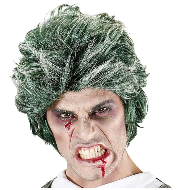 _xx_Pk 4 GREEN ZOMBIE WIG in polybag