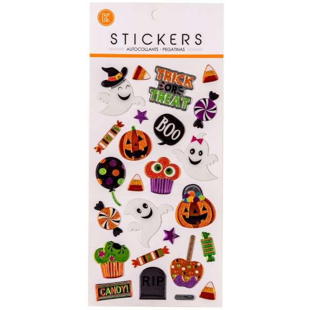 Naklejki brokatowe Halloween - duszki i dynie mix Carnival Toys