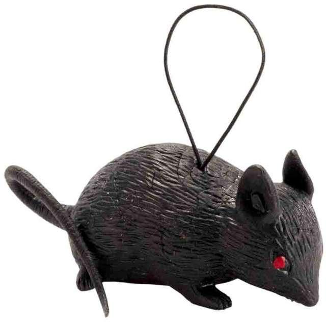 """Dekoracja """"Szczur na sznureczku"""", czarna, Widmann, 4 cm"""