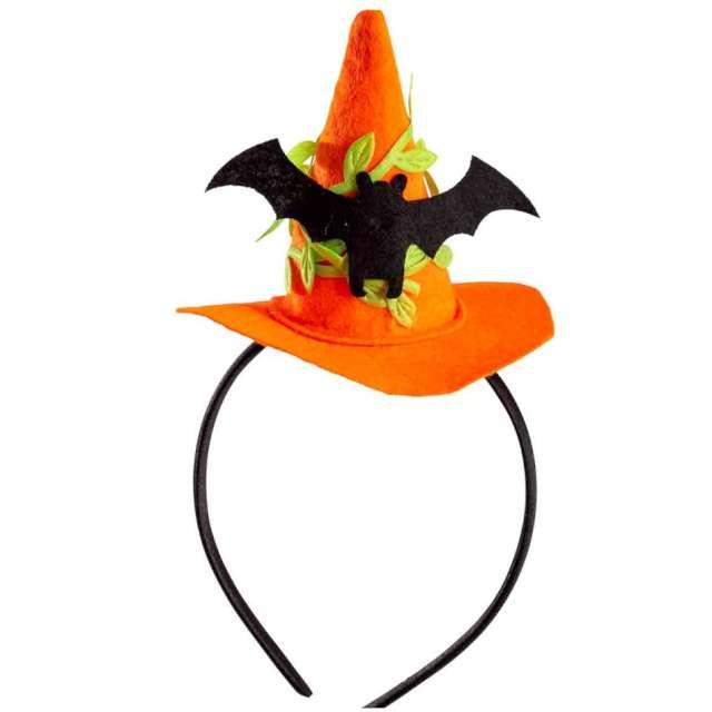 """Opaska party """"Kapelusz Czarownicy - Halloween z nietoperzem"""", pomarańczowy, Carnival Toys"""