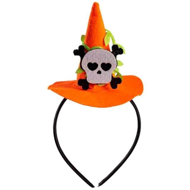"""Opaska party """"Kapelusz Czarownicy - Halloween z czaszką"""", pomarańczowy, Carnival Toys"""