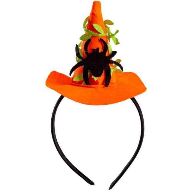 Opaska party Kapelusz Czarownicy - Halloween z pająkiem pomarańczowy Carnival Toys