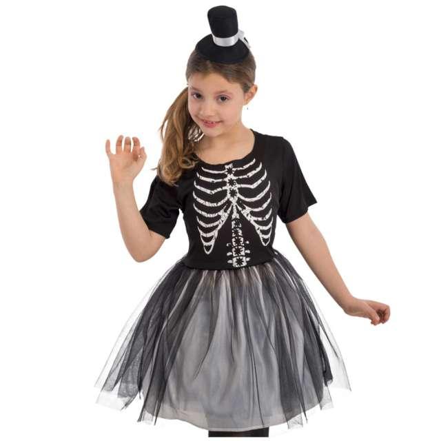 """Strój dla dzieci """"Szkieletorka z kapeluszem"""", czarny, Carnival Toys, 6-7 lat"""
