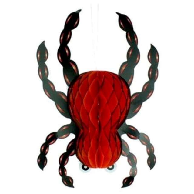 """Dekoracja """"Honeycomb - Hallowenowy Pająk 33cm"""", czarno-czerwony, 7&7"""