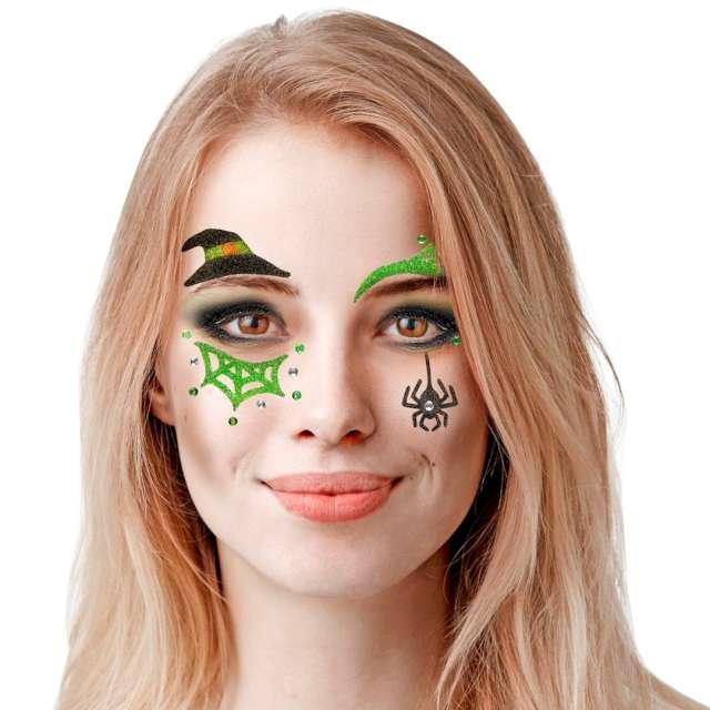Make-up Naklejki na twarz Czarownica wielokolorowy Widmann