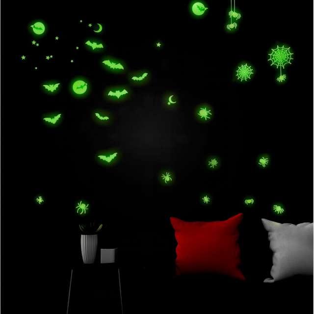Naklejki fluorescencyjne Halloween mix zielone Widmann