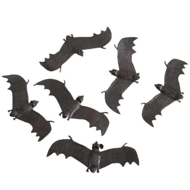 """Dekoracja """"Nietoperze"""", czarna, Carnival Toys, 13 cm, 6 szt"""