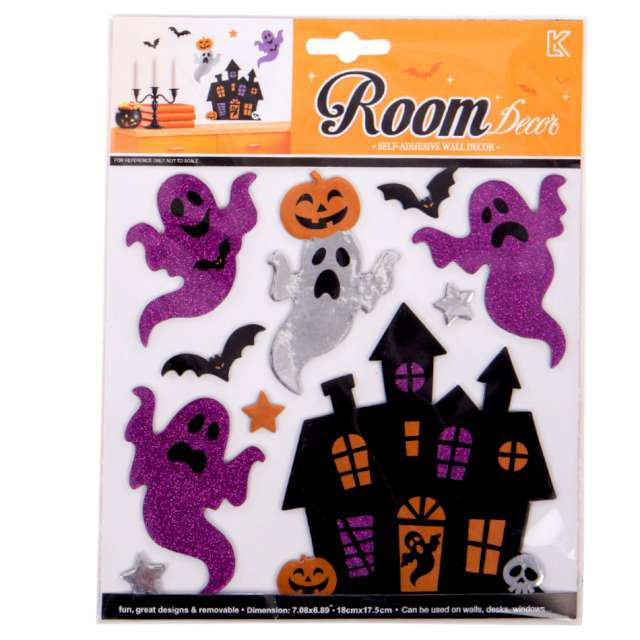 Naklejki metaliczne Halloween - Duchy na zamku mix Carnival Toys