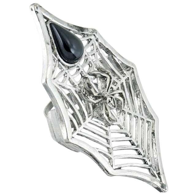 Pierścień Pajęczyna z pająkiem srebrno-czarny Widmann
