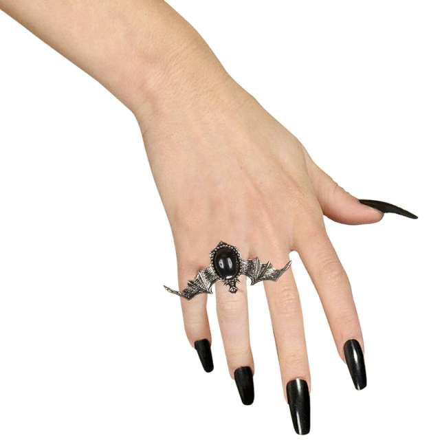 Pierścień Nietoperz z klejnotem srebrno-czarny Widmann