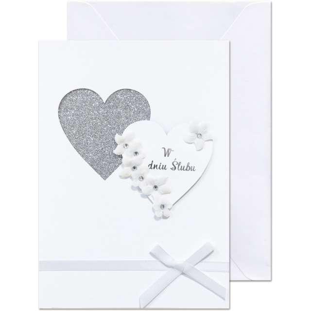 """Kartka okolicznościowa """"W dniu Ślubu - 2 serca"""", Paw, 12,5 X 17,6 cm"""