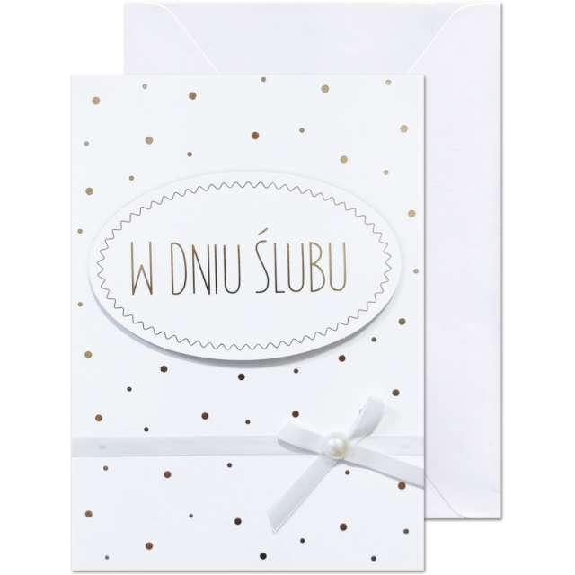 """Kartka okolicznościowa """"W dniu Ślubu - złote kropki"""", Paw, 12,5 X 17,6 cm"""
