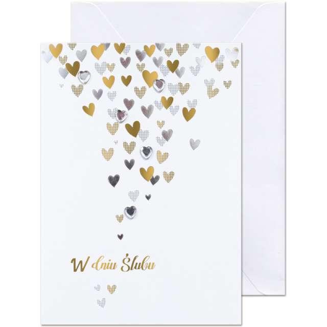 """Kartka okolicznościowa """"W dniu Ślubu - serduszka"""", Paw, 12,5 X 17,6 cm"""