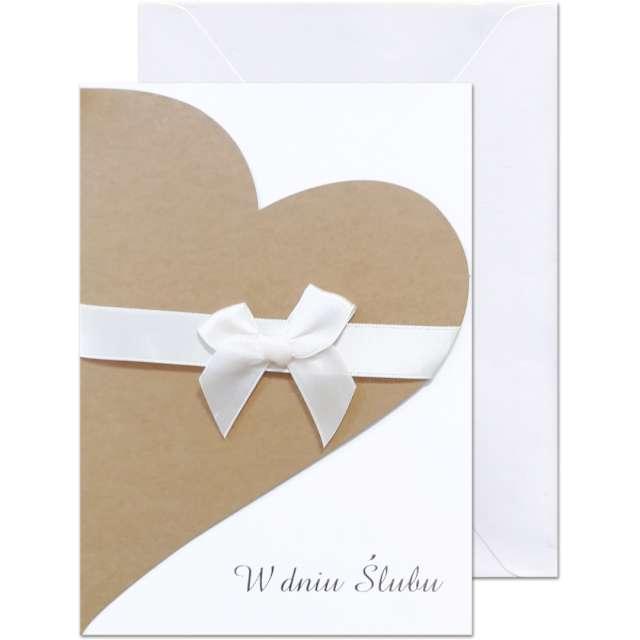 """Kartka okolicznościowa """"W dniu Ślubu - szare serce"""", Paw, 12,5 X 17,6 cm"""