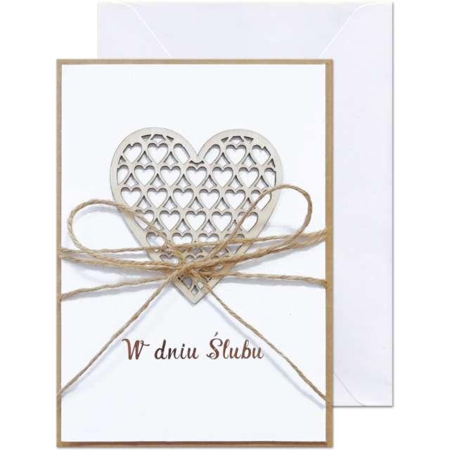 """Kartka okolicznościowa """"W dniu Ślubu - sznurek"""", Paw, 12,5 X 17,6 cm"""
