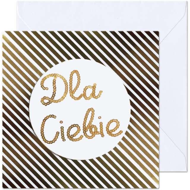 Kartka okolicznościowa Dla Ciebie biało-złota Paw 154 x 154 cm