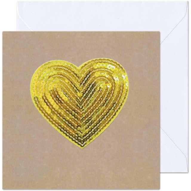 """Kartka okolicznościowa """"Cekinowe Serce"""", beżowo-złota, Paw, 15,4 x 15,4 cm"""