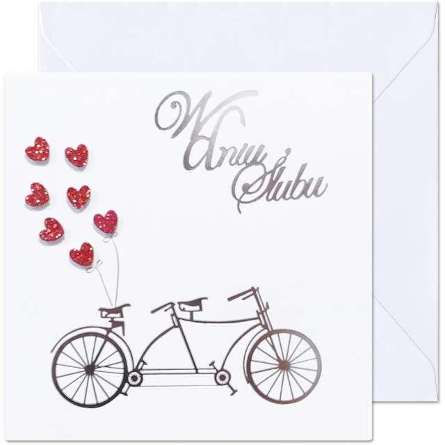 """Kartka okolicznościowa """"W dniu Ślubu - Tandem"""", Paw, 15,4 x 15,4 cm"""