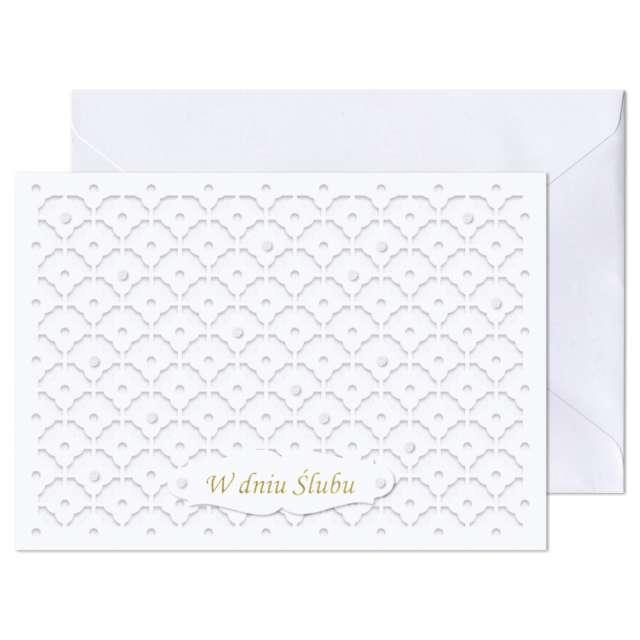 """Kartka okolicznościowa """"W dniu Ślubu - Ażur wzór"""", Paw, 17,6 x 12,5 cm"""