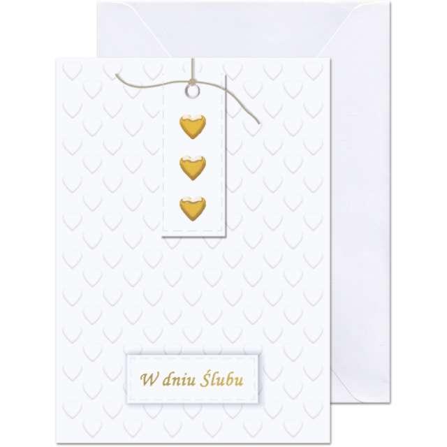 """Kartka okolicznościowa """"W dniu Ślubu - 3 serca"""", Paw, 12,5 X 17,6 cm"""