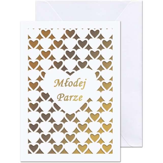 """Kartka okolicznościowa """"Młodej Parze - złote serca"""", Paw, 12,5 X 17,6 cm"""