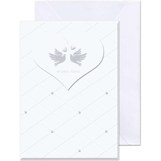 """Kartka okolicznościowa """"W dniu Ślubu - 2 Gołąbki"""", Paw, 12,5 X 17,6 cm"""