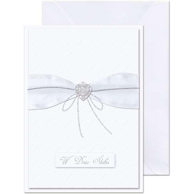 """Kartka okolicznościowa """"W dniu Ślubu - wstążka"""", Paw, 12,5 X 17,6 cm"""