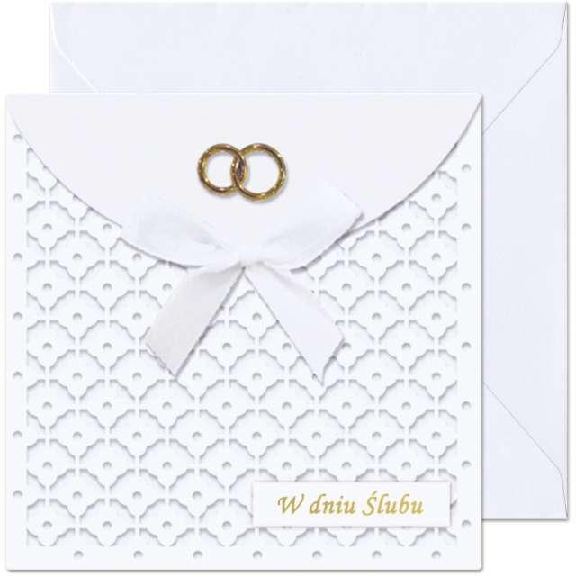 """Kartka okolicznościowa """"W dniu Ślubu - Obrączki"""", Paw, 15,4 x 15,4 cm"""
