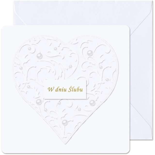 """Kartka okolicznościowa """"W dniu Ślubu - Perłowe serce"""", Paw, 15,4 x 15,4 cm"""